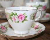 Colclough - English pink roses - bone china - teacup and saucer on elegant base