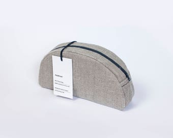 Natural linen make-up bag