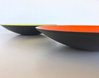 Shipping Included: Krenit Enamel Serving Dishes Bowl Set Chartreuse & Red Denmark Mid Century Modern Danish Modern