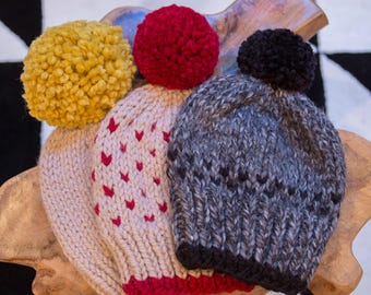 Chunky Knit Hat with Pom Pom // CREAM PUFF