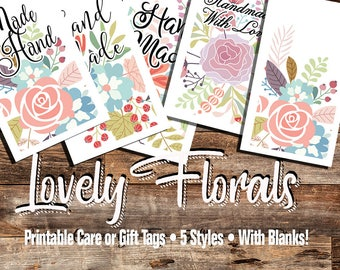 Lovely Floral Care or Gift Tags, Laundry Care Instructions, 5 Styles • For Crafters, Sewing, Knitting, Crochet,  Hi Resolution Images