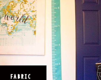 Teal/ Turquoise Fabric Growth Chart - Wall Ruler - Fabric Wall Ruler