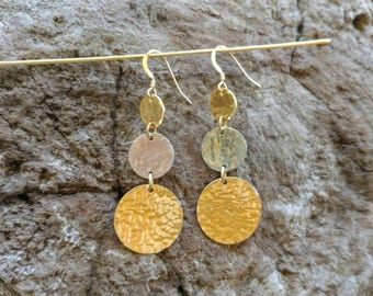 Hammered Circle Earrings, Mixed Metal, Gold, Silver, Dangle Earrings Gold Earrings, Silver Earrings, Long Earrings, Hammered, Circle, Dangle