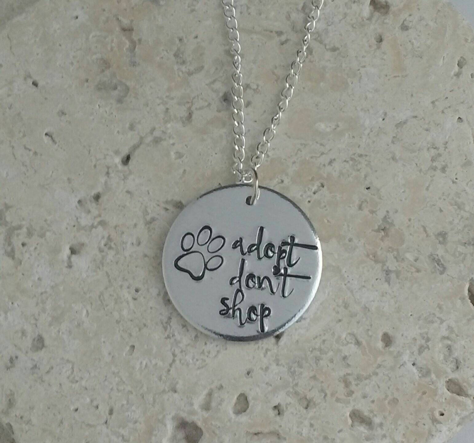 Adopt dont shop paw animal adoption necklace - Vegan message necklace - vegan jewellery - jewelry - animal rights jewellery - handstamped