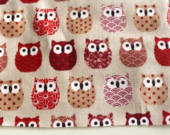 Fabric coupon 50 x 70 cm small red owls