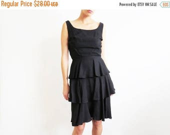 ON SALE Black 1960s Dress // Small Little Black 60's Audrey Hepburn Dress // Vintage Women's Clothing