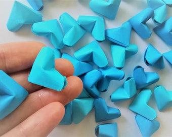 50 origami paper hearts, Blue Mix
