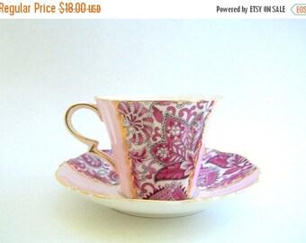 CLEARANCE Teacup & Saucer, Teacup Set, Vintage Teacup, Pink Teacup, Paisley Teacup, Floral Teacup, Vintage Teacup Set, Pink Teacup Set,Pink