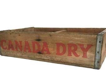 Vintage ginger ale crate rustic wood 4 slot box Canada Dry Bottling