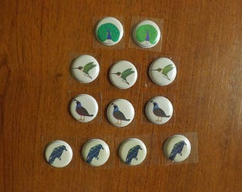 set of 12 stickers of various birds