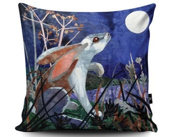 Moonlight Hare Cushion, Hare Pillow, Rabbit Cushion, Rabbit Pillow, Animal Pillow, Midnight Night Time, Vegan Suede Cushion by Kate Findlay
