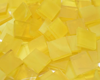 Wispy Yellow Stained Glass Mosaic Tiles