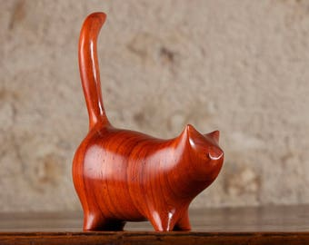 CARVED TO ORDER - Martha Cat Sculpture, Choice of Wood, Hand Carved by Perry Lancaster