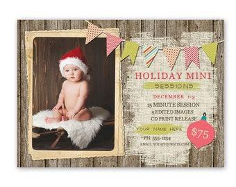 Holiday mini session template, christmas mini session template, photography marketing template