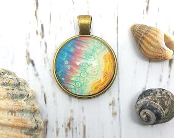 Seascape Pendant. Birds Eye view seascape wearable art. Archival quality print in a pendant.