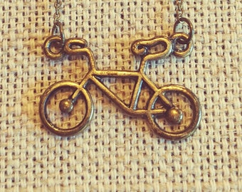 Antiqued Brass Bicycle Necklace