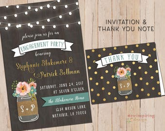 Shabby Chic Engagement Party Wedding Shower Invitations and/or Thank You Notes | Twinkle Lights Mason Jar