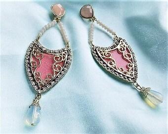 Statement pink nude earrings pink gold Oriental clip earrings
