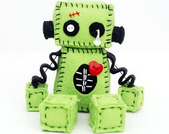 Zombie Robot Plush with Stitches and a Red Heart - Halloween Decor - Gift Idea