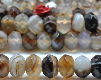 68 pcs of Natural Banded Agate faceted rondelle beads in 5x8mm (06159#)