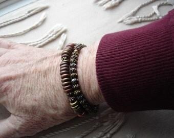 Mens Bracelets, Mens Metallic Bracelets, Wood Bracelets, Metallic Bracelets, Fathers Day, Mens Accessories, Gift for Men