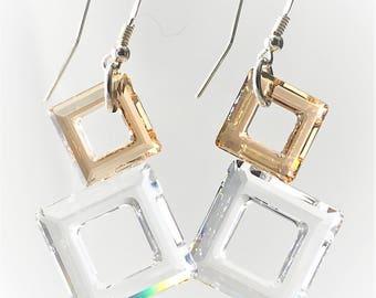Geometric crystal earrings