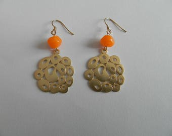 Orange Lampwork bead and gold bubbles earrings