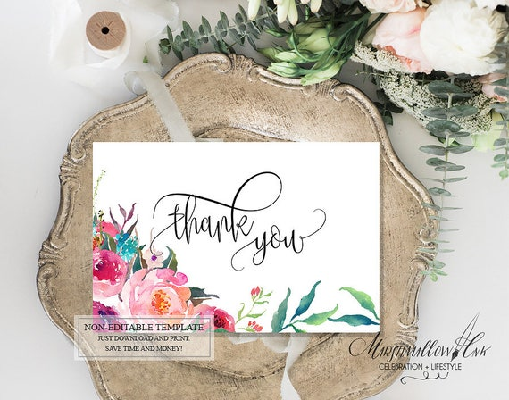 Foliage Thank You Card Wedding Cards Printable DIY Sign Note Shower