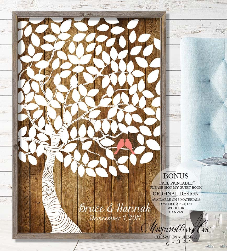 Wedding Guest Book Alternative, Wedding Signs Guest Book Sign, Wedding Gift for Bride Wedding Keepsake, Rustic Wedding Tree Guest Book Tree