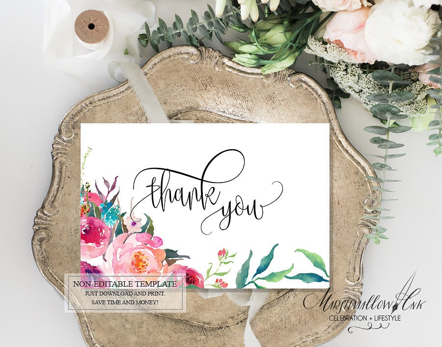Foliage Thank You Card, Wedding Thank you Cards Printable DIY Thank You Card, Thank you Sign Thank You Note Card Wedding Shower Thank You