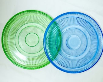 Vintage Glass plates in green and blue, 70-s.