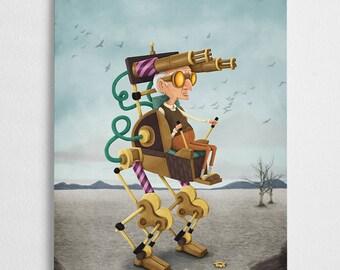 Steampunk art print, machine illustration // Mecha Grandpa