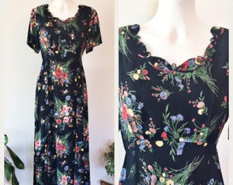 90's Floral Midi Dress - Vintage Short Sleeve Dress - Hippie Dress - Festival Dress - Vintage Dress - Floral Dress - Navy Dress - Rene Derhy