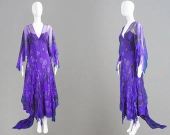 Vintage ZANDRA RHODES Silk Chiffon Dress Purple Evening Gown Ruffle Dress Floor Length Train British Designer Red Carpet Dress Frilly Dress