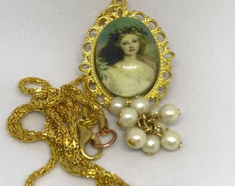 Classic Angelic Woman with Faux Pearls at the Base