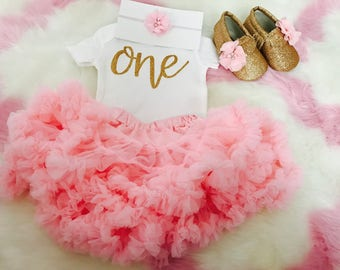 1st Birthday Girl Outfit | Baby girl first birthday outfit / First birthday outfit / Girls birthday outfit / Pink and gold