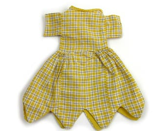 "Vintage 1940s Doll Dress Handmade Doll Dress for 14"" to 16"" Dolls Gingham Doll Dress"
