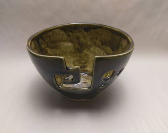 YARN BOWL - Amber Spiral Cut - Hand Made Ceramic #793