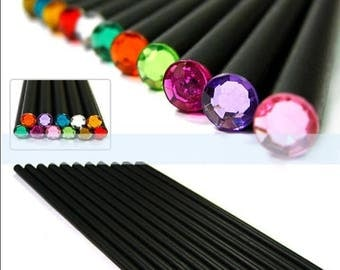 Pencils, 12 pieces, HB, black with rhinestones