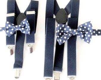 suspenders with two bow ties,father -son-set, navy,polka-dots
