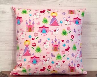 Princess Pillow - Fairy Tale Pillow - Pink Pillow - Girls Bedroom Pillow - Girls Gift - Pillow Cover - Pink and Purple Pillow - 16x16 Pillow