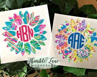 Monogrammed Initial Sunflower Decal, Flower Sticker with Initials,  Sunflower Car Window Decal, Laptop Decal, Custom Initial Decal,  N1218