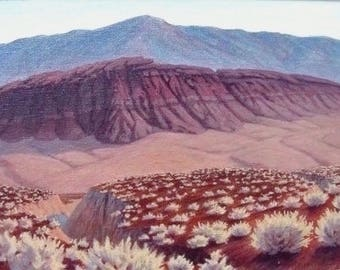 Framed 'Tecopa Highlands' - original landscape painting - California impressionist - purple - southwest art - desert landscape