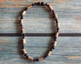 11.75 Inch Hazelwood and Baltic Amber Necklace - Support Reflux, Heartburn, and Eczema