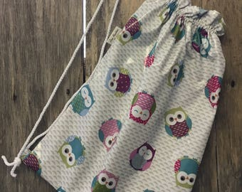 Swimming bag,PE bag,Gym bag,Toy bag,Sports bag,Shoe bag in owls oilcloth