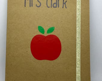 Personalised teacher gift A5 lined notebook teacher, teaching assistant keyworker FREE P&P