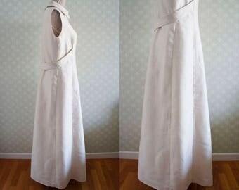 Large Wedding Vintage dress. Off-White vintage dress floor length. 60s-70s vintage.
