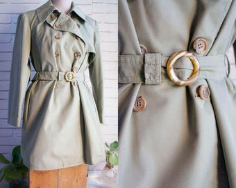 Vintage Trench 70s - 70s military green raincoat -