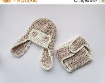 SALE 15% DISCOUNT Crochet Newborn Outfit - Baby Boy Aviator Hat and Diaper Cover Crochet Outfit  -Newborn Baby Boy