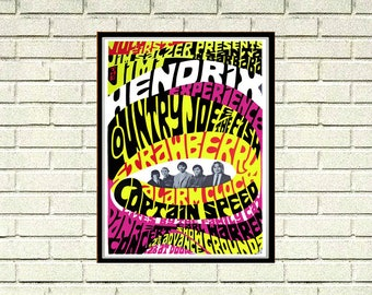 Reprint of a 70's Jimmy Hendrix Concert Poster